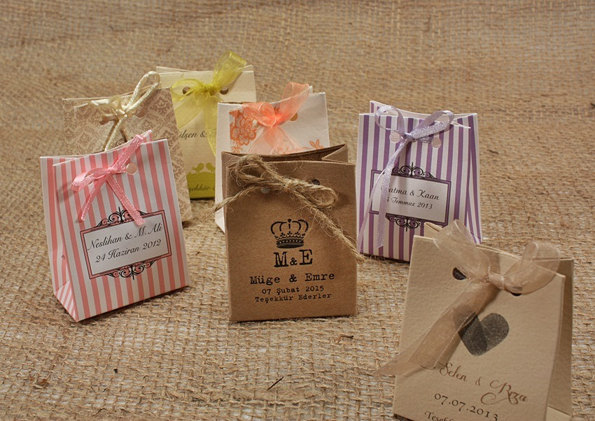 Paper Wedding Favor Bags W Candies Lovely Knot Custom Wedding